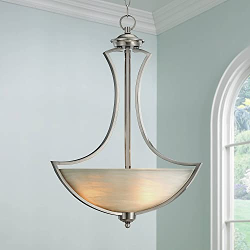 Milbury Satin Nickel Pendant Chandelier 19 1/2″ Wide Modern White Alabaster Glass Bowl 3-Light Fixture