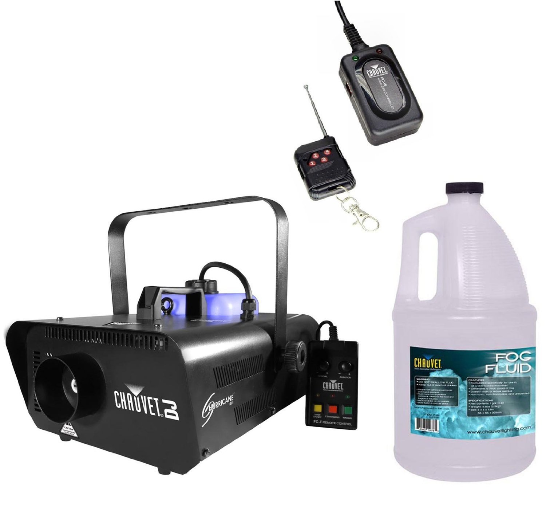 Chauvet Hurricane H1301 Fog/Smoke Machine + FC-W Wireless Remote + FJU Fog Fluid by Chauvet