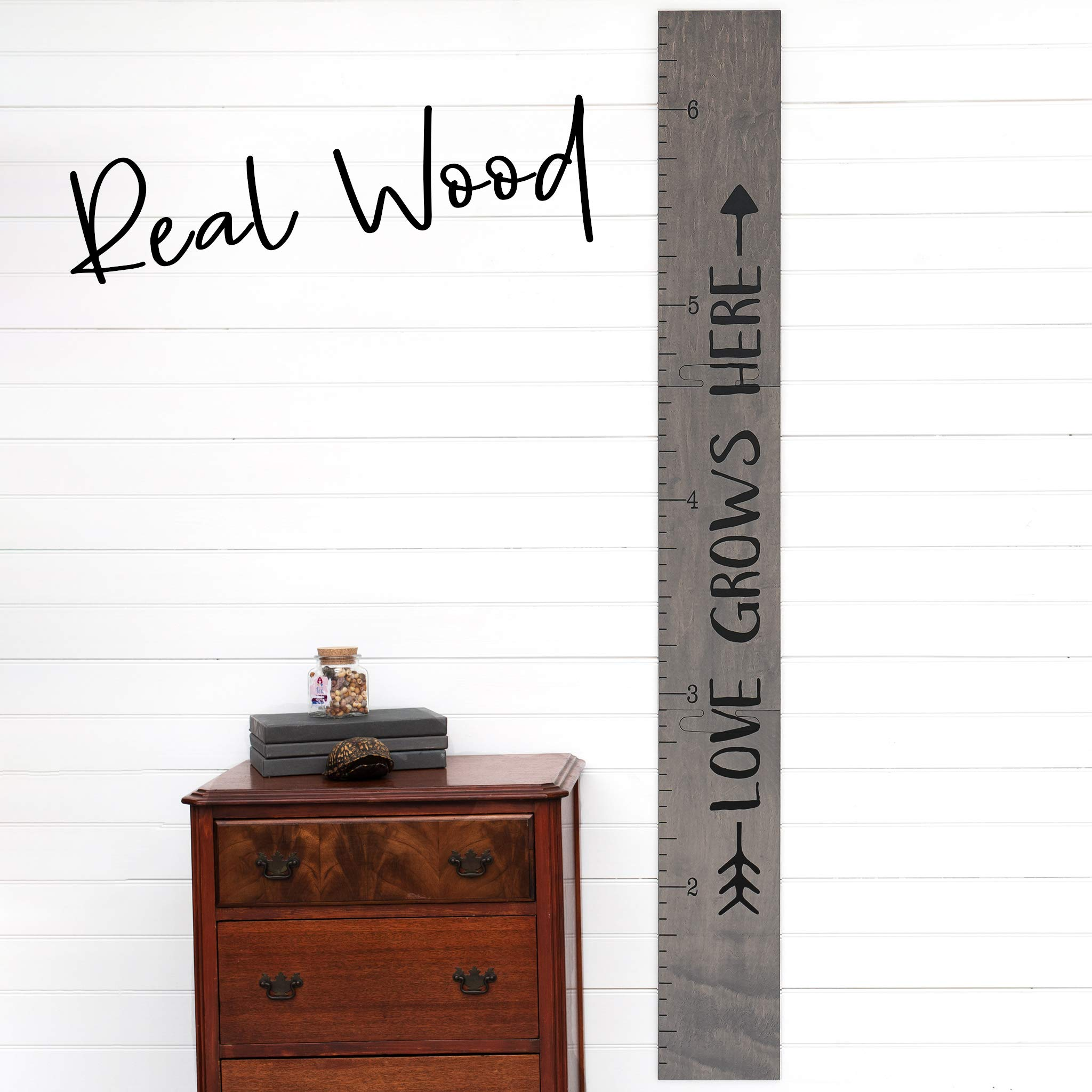 Growth Chart Art | Giant Ruler Wooden Height Chart | Wood Growth Chart for Babies, Kids, Boys & Girls | Love Grows Here (Gray Tribal) by Growth Chart Art