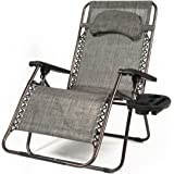 Belleze X-Large Oversized Zero Gravity Chair Recliner Adjustable Headrest Padded Headrest w/Pillow Cup Tray, Gray