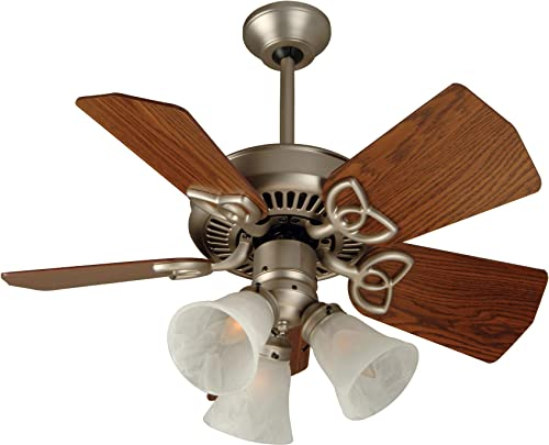 Craftmade K10740 Piccolo 30 Outdoor Ceiling Fan with 180 Watts Light Kit and Pull Chain, 5 Blades, Brushed Satin Nickel