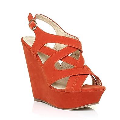 0be8ccb4363a Rocco Orange Faux Suede Platform Peep Toe Strappy Wedge Sandals Size UK 3  EU 36