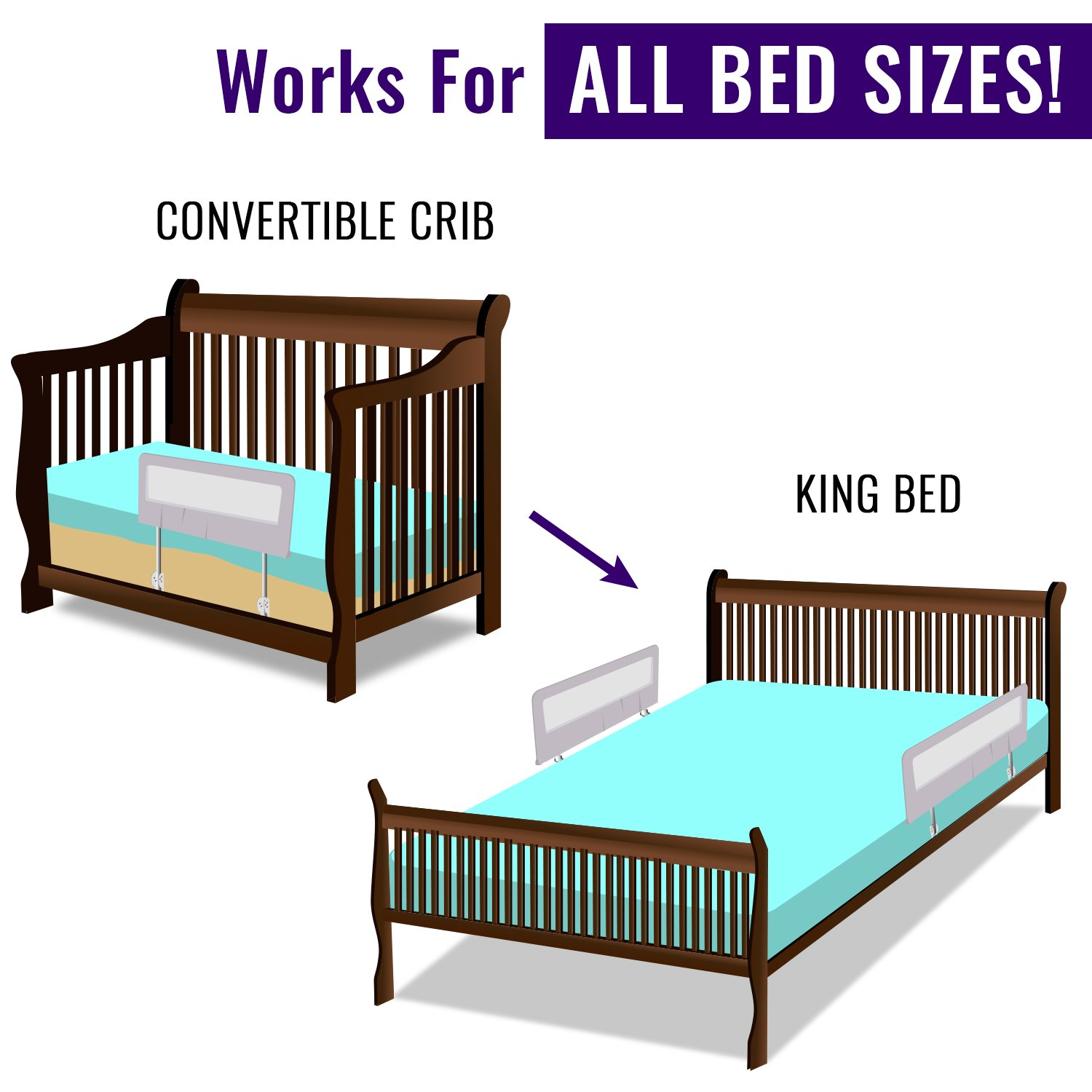 other baby proofing toddler bed rail guard for convertible crib kids twin double full size. Black Bedroom Furniture Sets. Home Design Ideas