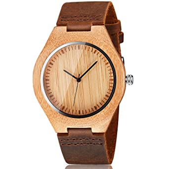0bf947868 CUCOL Mens Wooden Watches Brown Cowhide Leather Strap Casual Watch for  Groomsmen Gift with Box