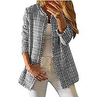 DDYIIO Mujer Tops Chaquetas Sudaderas Chaqueta con Borlas a Cuadros de Tweed ArcoíRis Prendas de Abrigo Chaqueta de…