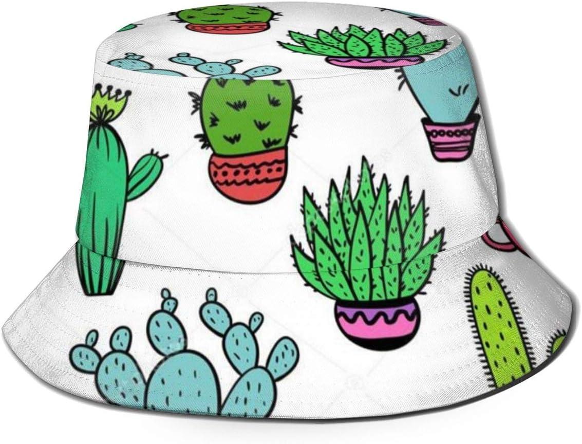 XCNGG Sombrero de Pescador Unisex para Adultos, Colorido, sin Costuras, Divertido, Cactus y suculentas, Sombrero de Cubo, Gorra para el Sol Plegable, protección máxima para Rayos UVA, pa