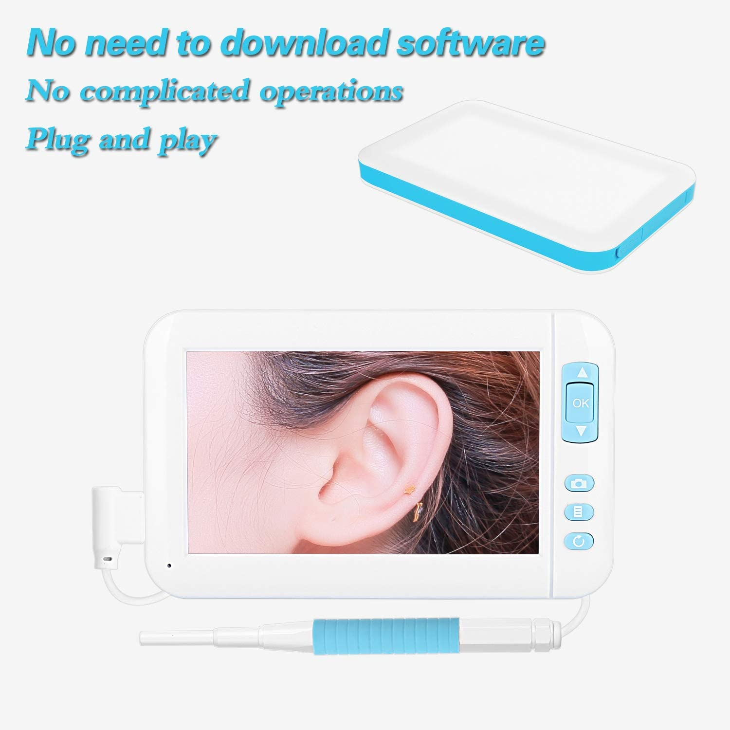 WSJS Visual Otoscope HD Ear Wax Removal Tool Camera 3.9mm Electronic Ear Detector 4.3 Inch Large Screen Auriscope with Display 6 LED Lights for Family