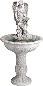 Design Toscano KY53002 Heavenly Moments Angel Sculptural Garden Fountain, 45 Inch, Faux Stone