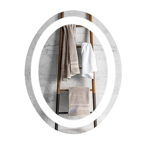 Amazon.com: CO-Z - Espejo de baño con luz LED ovalado de ...