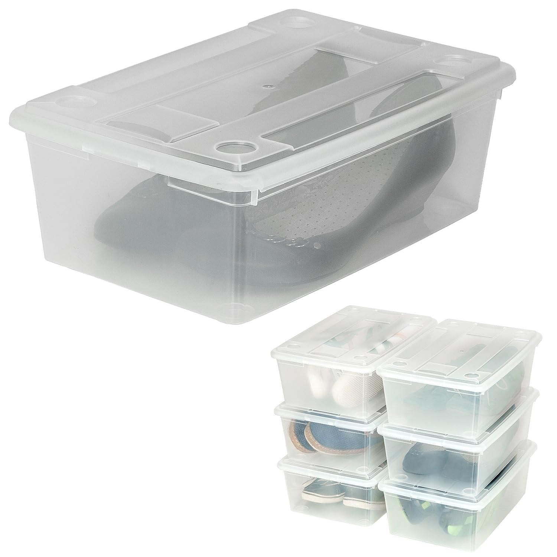 TecTake Cajas de almacenaje de zapatos calzado cajas plástico transparente apilable 33x23x12cm - varias cantidades - (2x6 hg3d58
