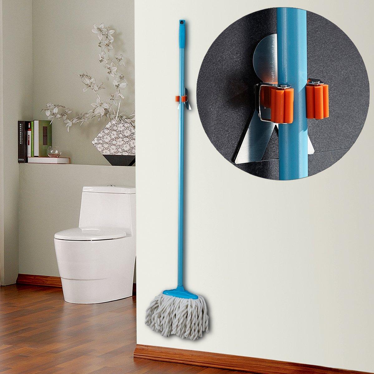 Bosszi SUS304 Stainless Steel Mop Broom Holder Racks Adhesive Wall Mount Bathroom Storage Organizer Mop Hanger (2 Pack) by Bosszi (Image #5)