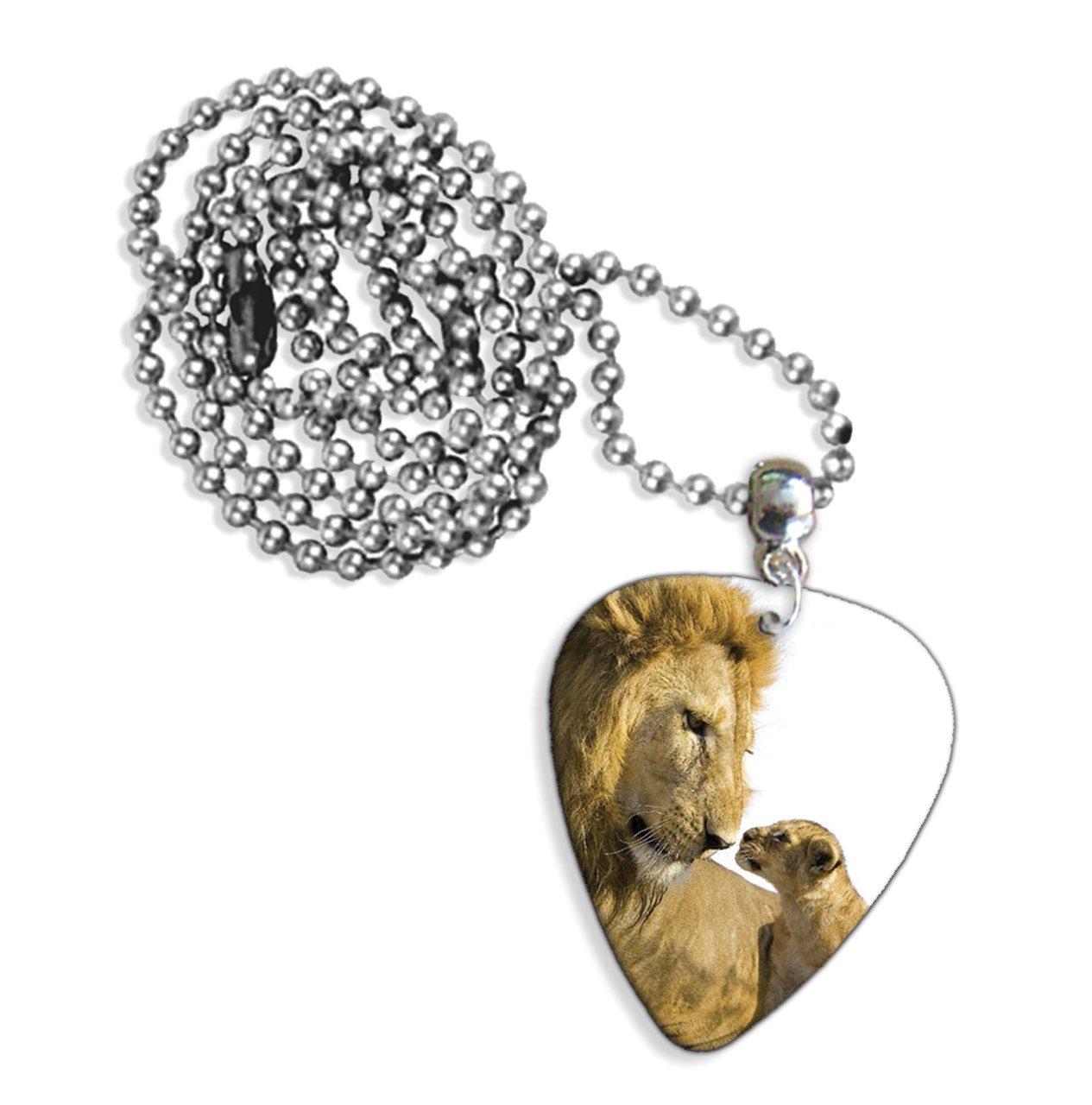 GD Le/ón y cachorro Logo collar de p/úa de guitarra