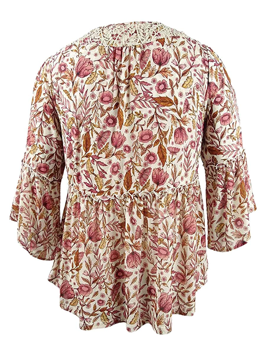 Womens Plus Metallic Bell Sleeve Peasant Top Style /& Co