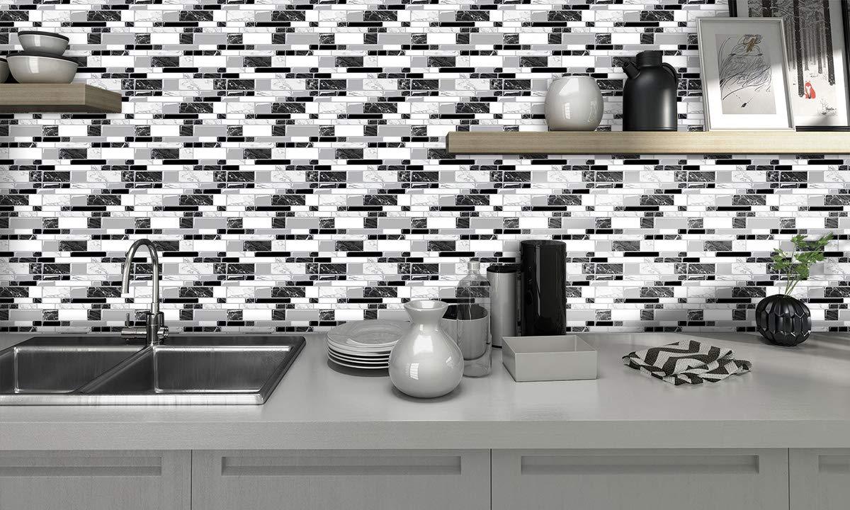 Cocotik Grey Peel and Stick Tile Backsplash for Kitchen, Grey Subway Stick on Tiles for Backsplash (10.7