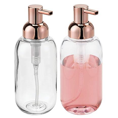 mDesign Juego de 2 dispensadores de jabón rellenables - Dosificadores de jabón redondos de plástico - Ideal dosificador de baño o de cocina con aprox.