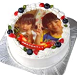 写真ケーキ 全面プリント シンプルタイプ 標準の白い生クリーム (6号(18cm)6~8人前)