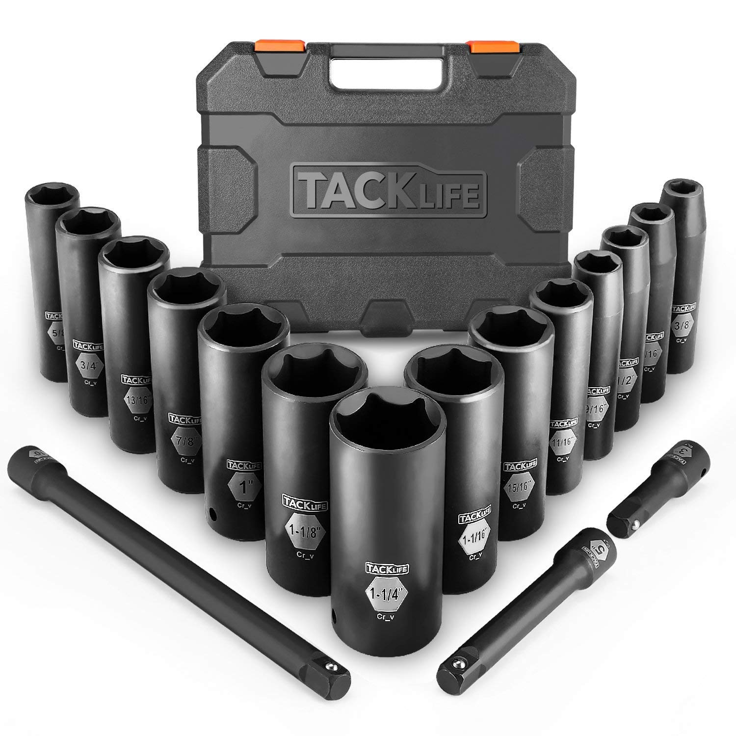 TACKLIFE 1/2-Inch Drive Master Deep Impact Socket Set, Inch, CR-V, 6 Point, 17-Piece Set - HIS2A