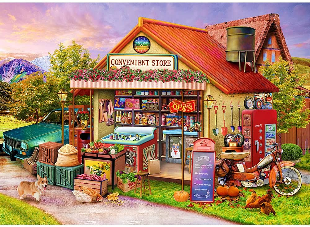Puzzles for Adults 1000 Piece Jigsaw Puzzles 1000 Pieces for Adults Country Shop Puzzle Educational Games Home Decoration Puzzle (27.56
