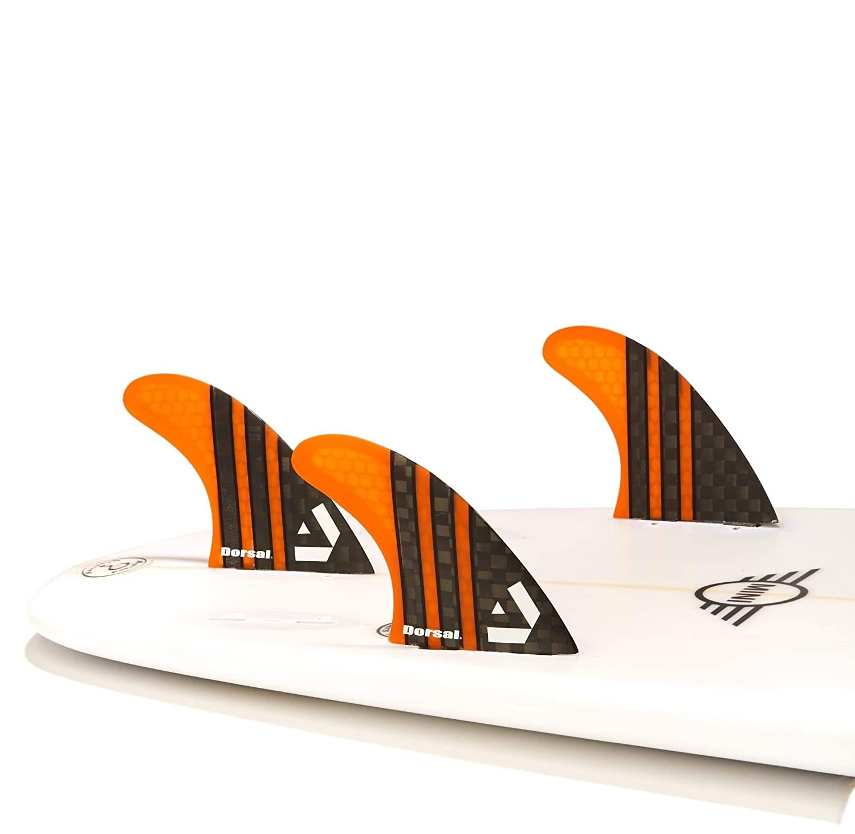 Dorsal Carbon Hexcore Surf Fins Thruster Set Medium Orange
