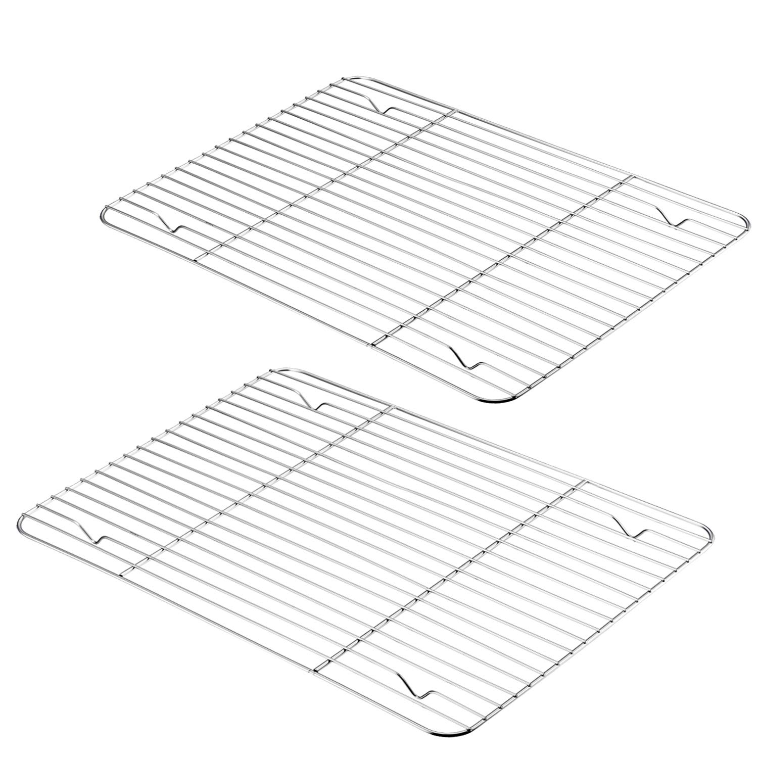 P&P CHEF Cooling Rack Pack of 2, Stainless Steel Baking Racks for Baking Roasting Grilling Drying, Rectangle 15.3''x11.25''x0.6'', Oven & Dishwasher Safe