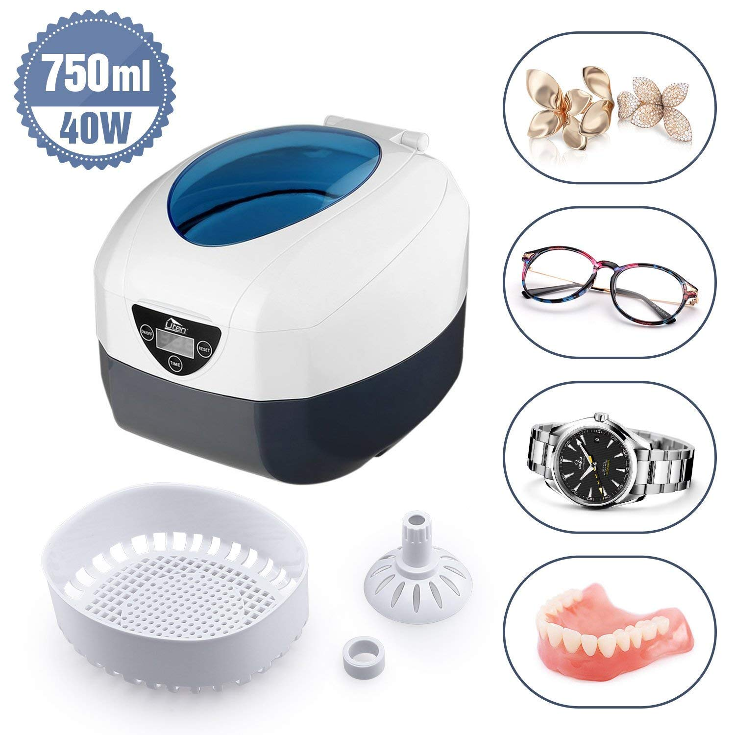 Uten Ultrasonic Cleaner - 0.75L Low Noise Wash Machine for Cleaning Eyeglasses, Jewelry, Watches, Razors, Dentures Combs by Uten