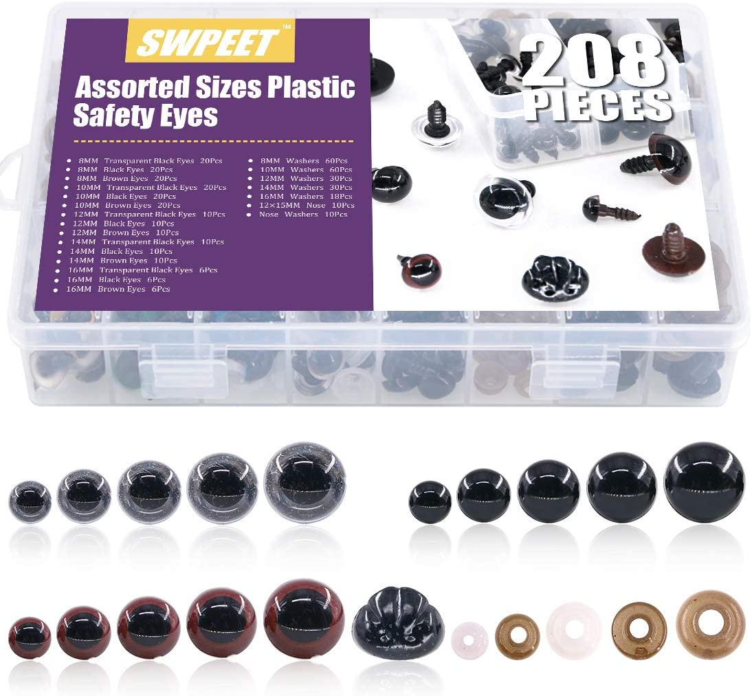 6//7//8//9//10//12//14//16//18//20//22//24mm Black Solid Plastic Safety Eyes Craft Safety Eyes DIY Eyes with Washers for Teddy Bear Doll Plush Animal Puppet Crafts BESTCYC 1box 154pcs