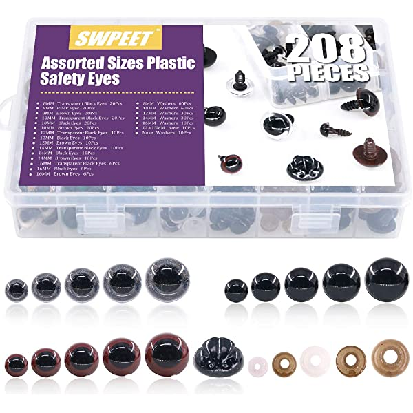 100pcs 8//10//12//14//16mm Plastic Safety Eyes with Washers for Doll Teddy Bear Puppet Plush Animal Making BESTCYC 1Box