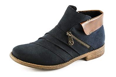 Rieker Damen Komfort Stiefeletten Gefüttert Blau Gr. 37