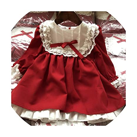 1066f0a21720d Amazon.com: Baby Girl Winter Princess Dresses Vintage red Lace Long ...