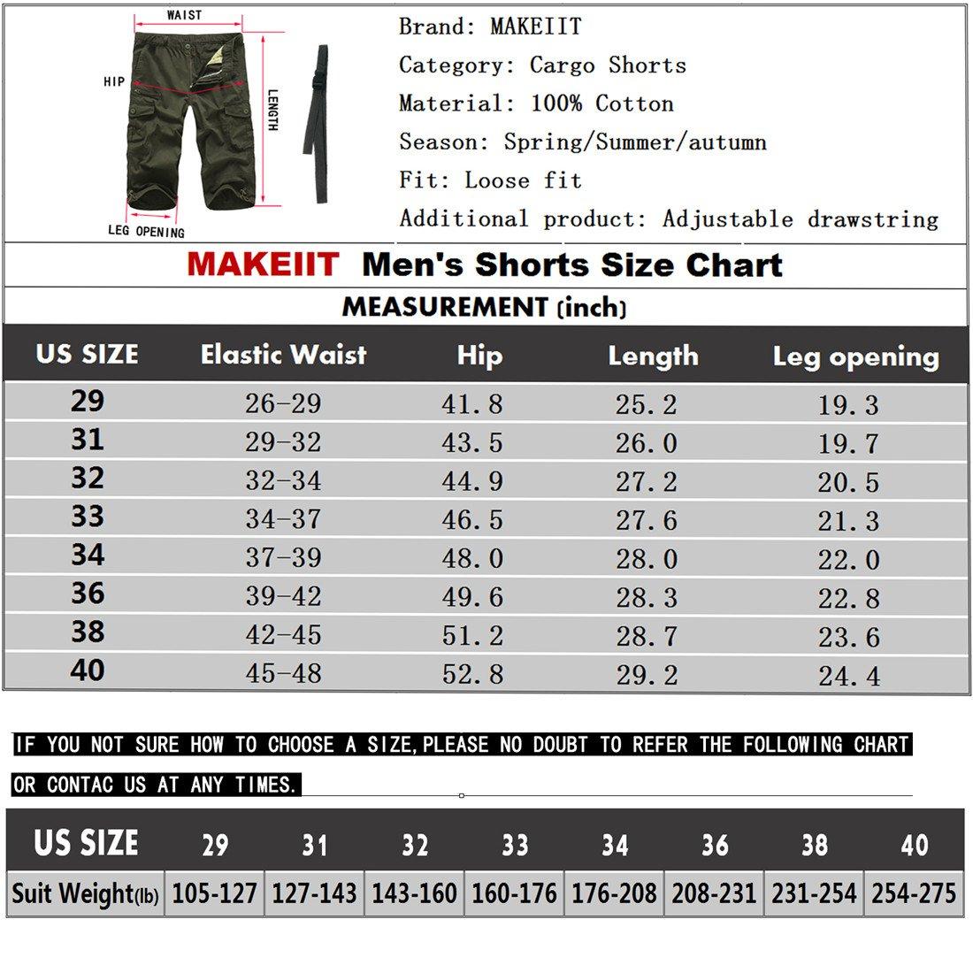 MAKEIIT Men's Juniors Cargo Shorts XXXL Cargo Shorts Dri Fit Cargo Shorts with Multi-Pocket by MAKEIIT (Image #5)
