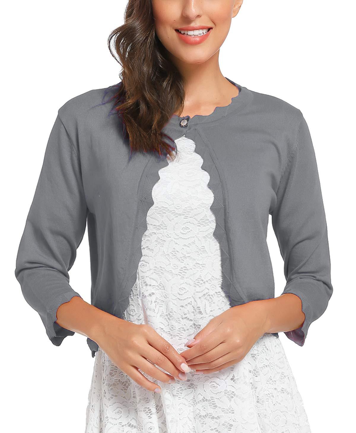 iClosam Women 3/4 Sleeves Cardigan Sweater Knit Bolero Shrug (Grey, X-Large)
