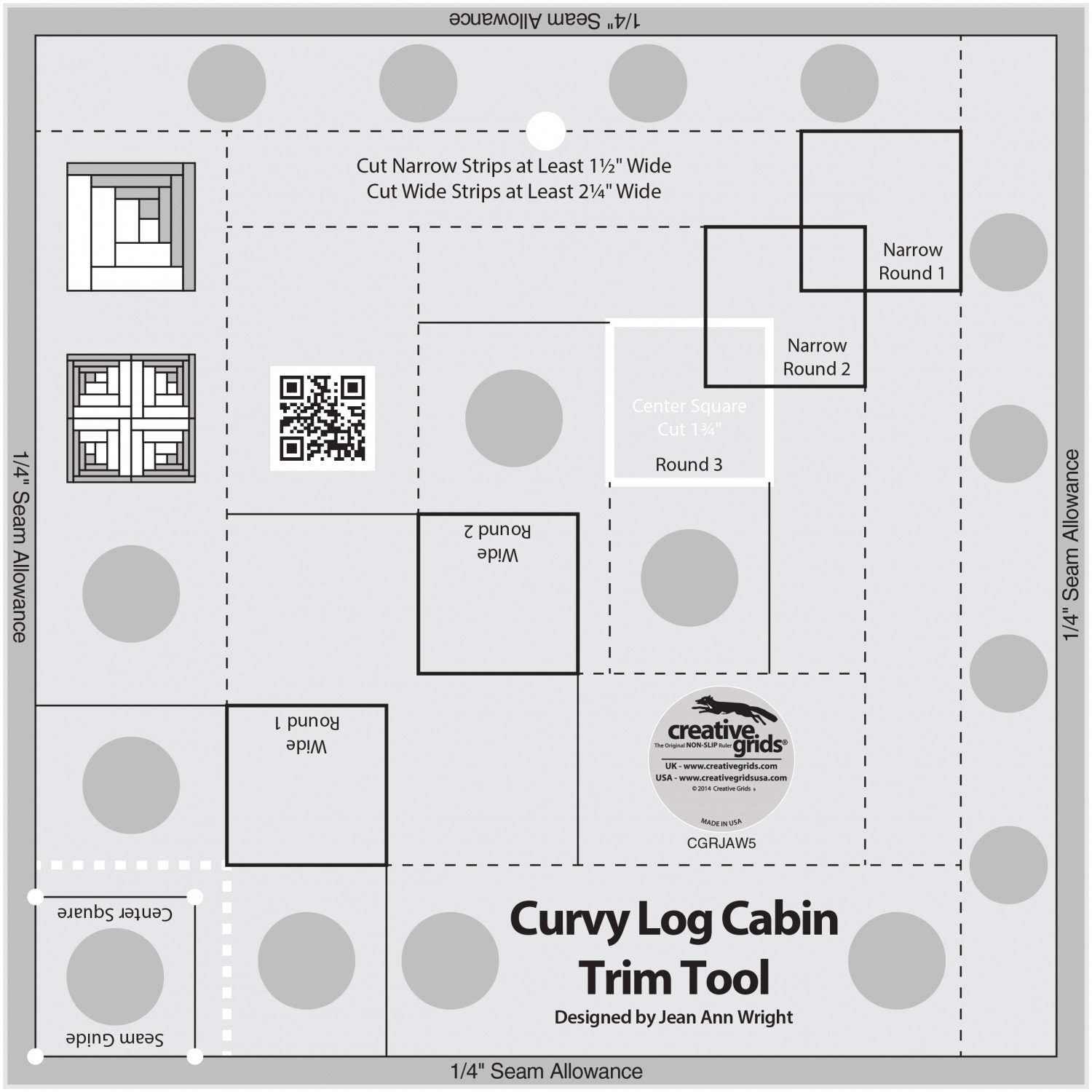 Bundle of Creative Grids Curvy Log Cabin Trim Tool 8in Finished Blocks and Cut Loose Press Hopscotch Curvy Log Cabin Quilt Pattern