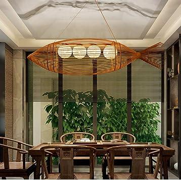 Tejido de bambú Lámpara de Techo, Gran pez Iluminación Colgante ...