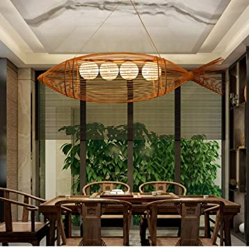 Tejido de bambú Lámpara de Techo, Gran pez Iluminación Colgante Retro Clásico Industrial Suspensión Bombillas E27 para Comedor Desván Bar Lámparas de araña Lámparas de araña,L: Amazon.es: Hogar