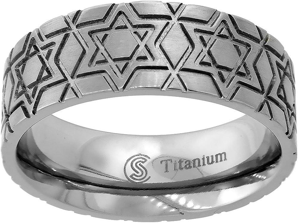8mm Titanium Wedding Band Star of David Ring Deep Carving Flat Comfort Fit Sizes 6-14