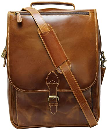 0aade5731c1c Amazon.com  Leather Backpack Laptop Messenger Bag for Men and Women 15