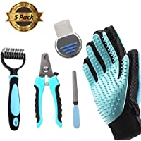 FRETOD Pet Grooming Tools Set 5 Pieces – All in One Pack: Dog Cat Hair Remover/Nail Clipper/Deshedding Rake/Brush Comb – Shower Cleaning for Small Medium Large Dog & Cat