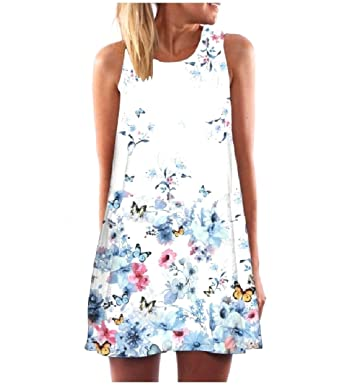 bd002eb41b2 Tootless-Women Floral Spring Round Neck Sleeveless A-line Tank Dress White  XS