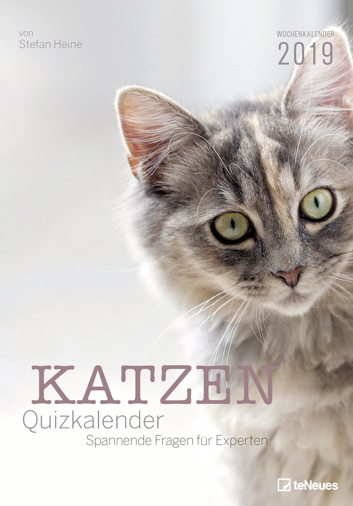 Stefan Heine Katzen-Quiz 2019 Wochenkalender - Rätselkalender, Wandkalender, Tierkalender 2019  -  23,7 x 34 cm