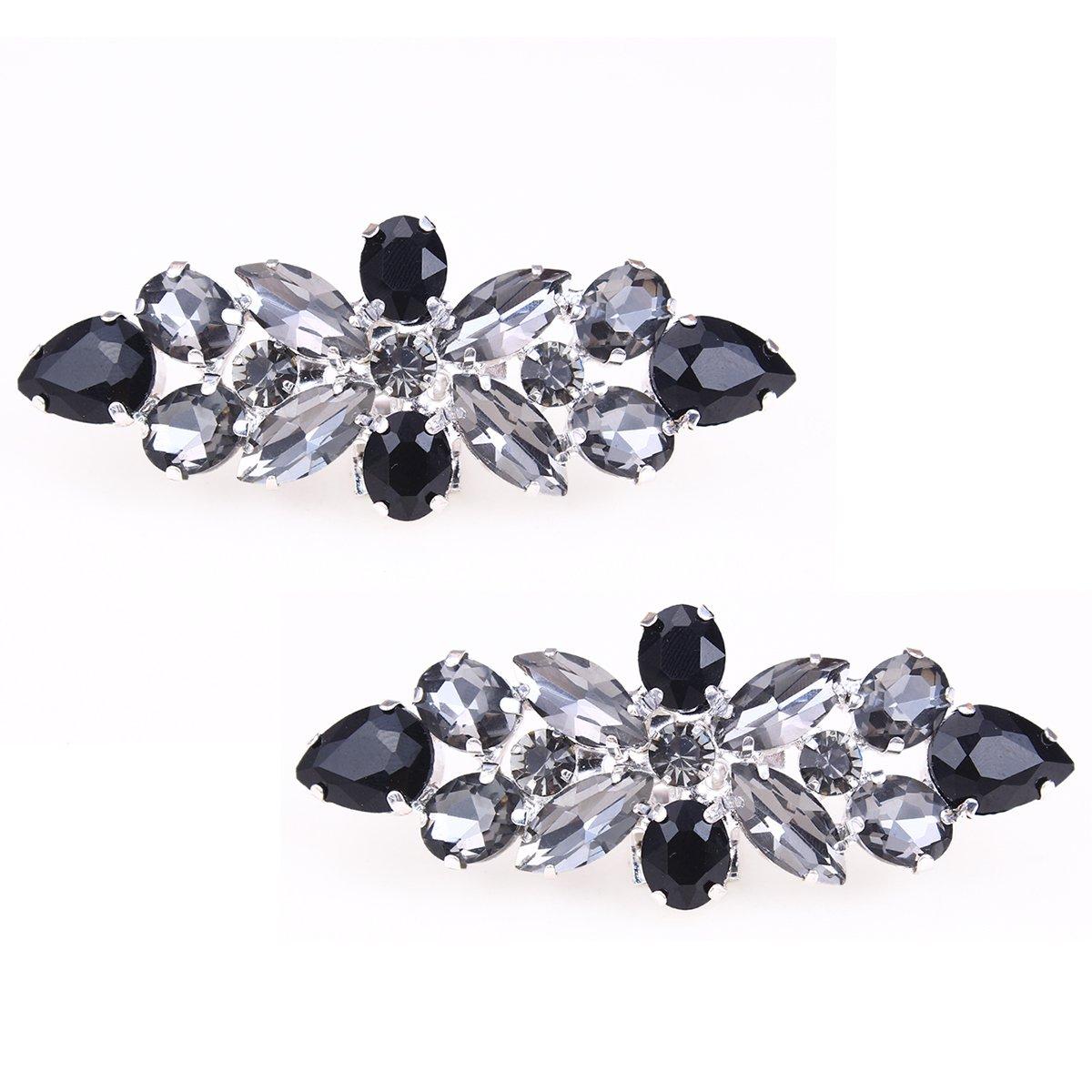 Santfe Fashion Crystal Rhinestone Flower Shoe Buckle Shoe Clips for Bridal Wedding Party Shoe Decoration (Black)