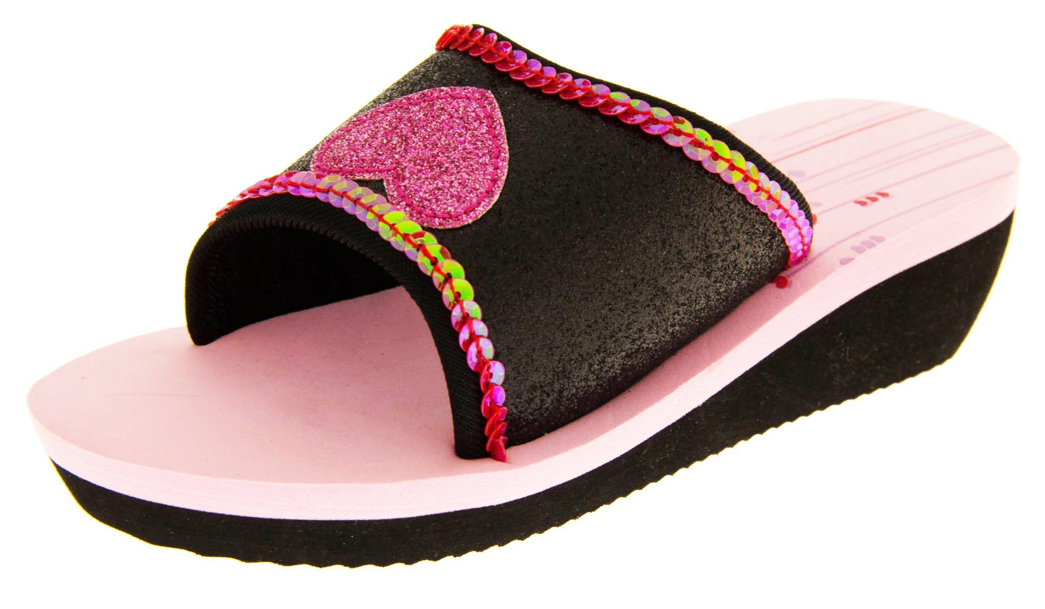 De Fonseca Girls Black With Pink Glitter Heart Summer Flip Flops Sandals Beach Shoes US 3.5