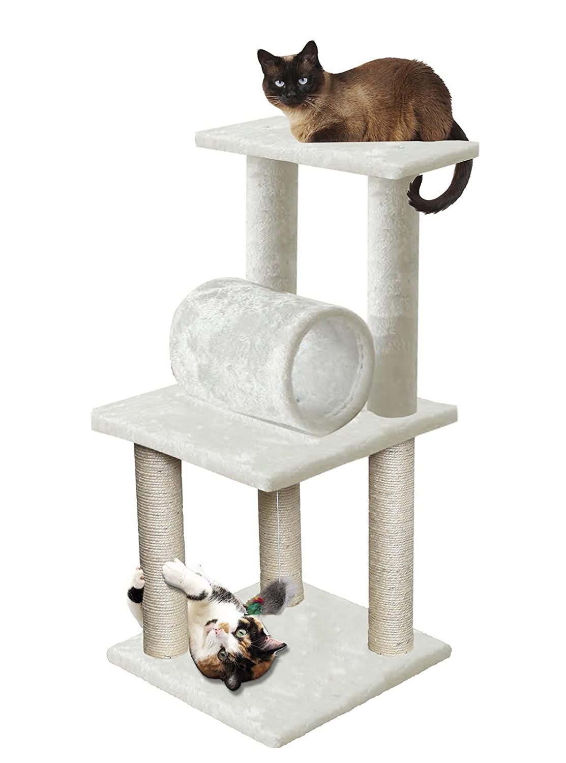 """33"""" White Cat Tree Play Tower Bed Furniture Scratch Post Tunnel Toy Pet Needs"""