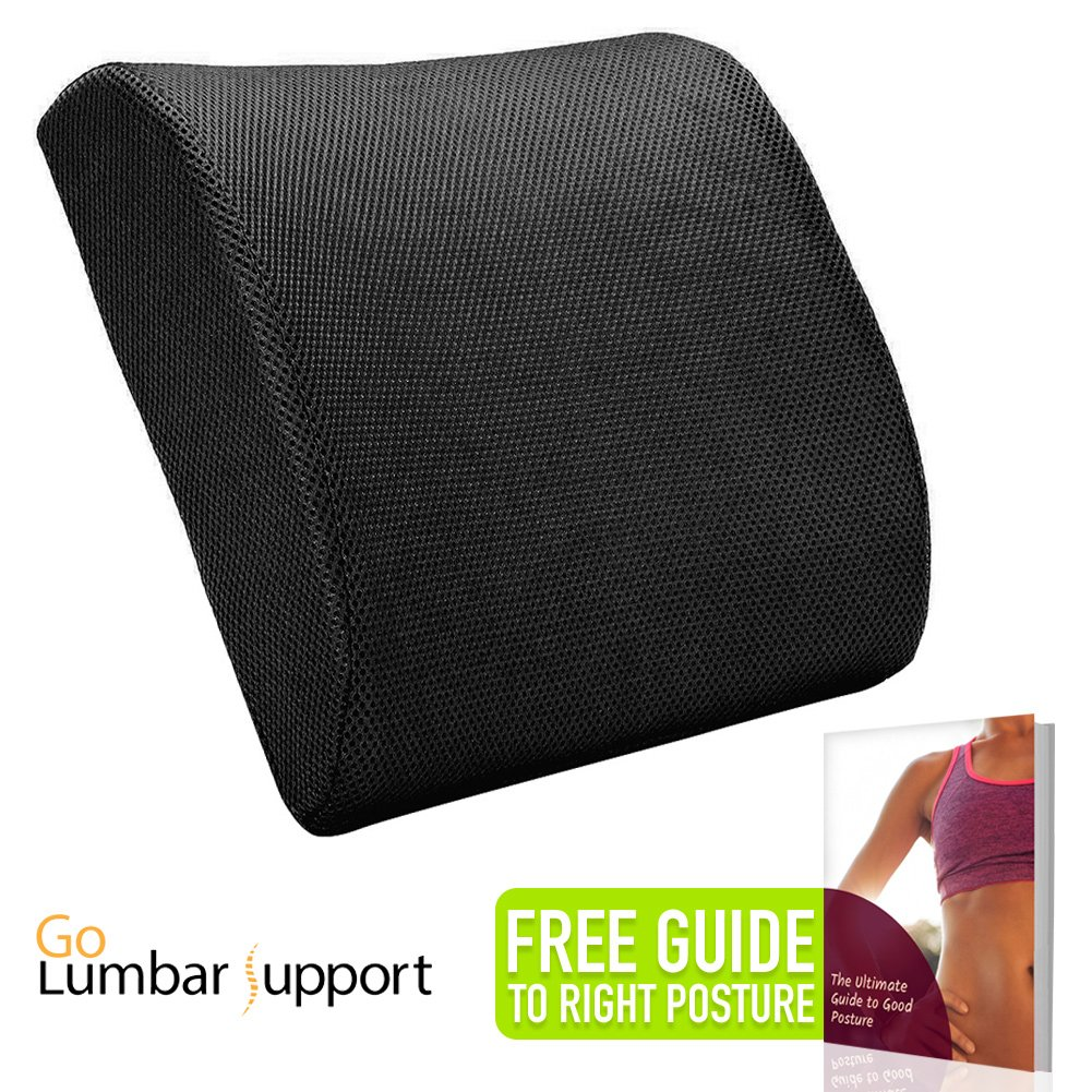 Memory Foam Lumbar Pillow Back Cushion Support for Car Seat Sofa Chair Office Home Travel - Recommended by Chiropractor for Lower Back Pain Relief Correct Posture - eBook Included