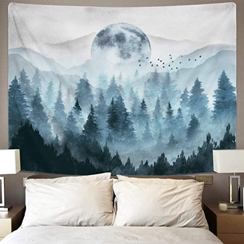 Misty Forest Tapestry Foggy Mountain Tapestry Magical Tree Tapestry Nature Tapestry Woodland Tapestry