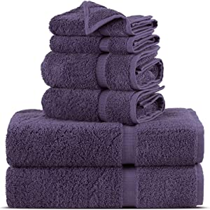 Towel Bazaar Premium Turkish Cotton Super Soft and Absorbent Towels (6-Piece Towel Set, Plum Purple)