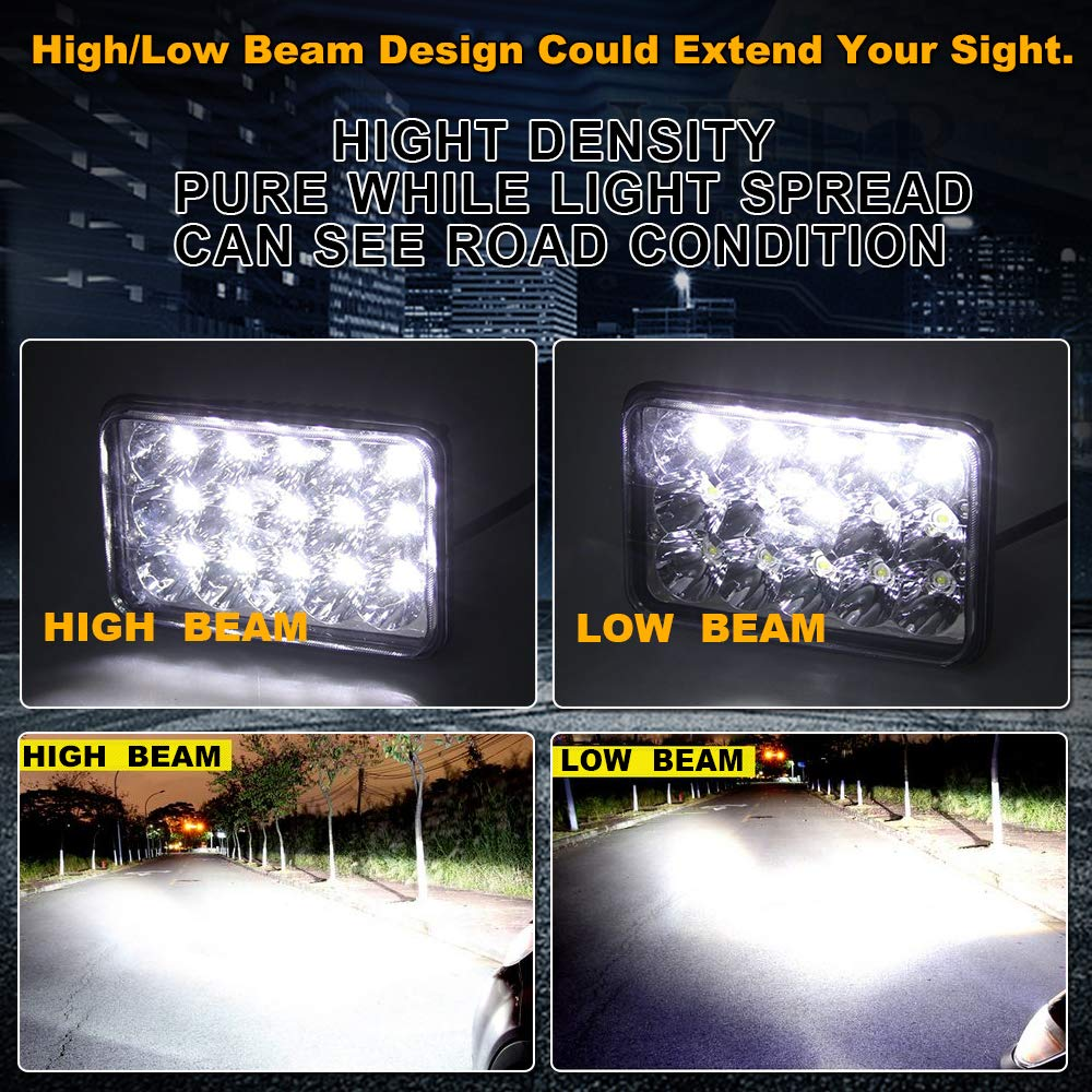 Turbosii Dot Approved Sealed Beam 4x6 Led Headlight W900 Besides 3 Way Switch Wiring Diagram On Ac Light Assemblies Hi Lo Replace H4651 H4656 Hid Bulb Headlamps Kw Kenworth T600 T800 Truck