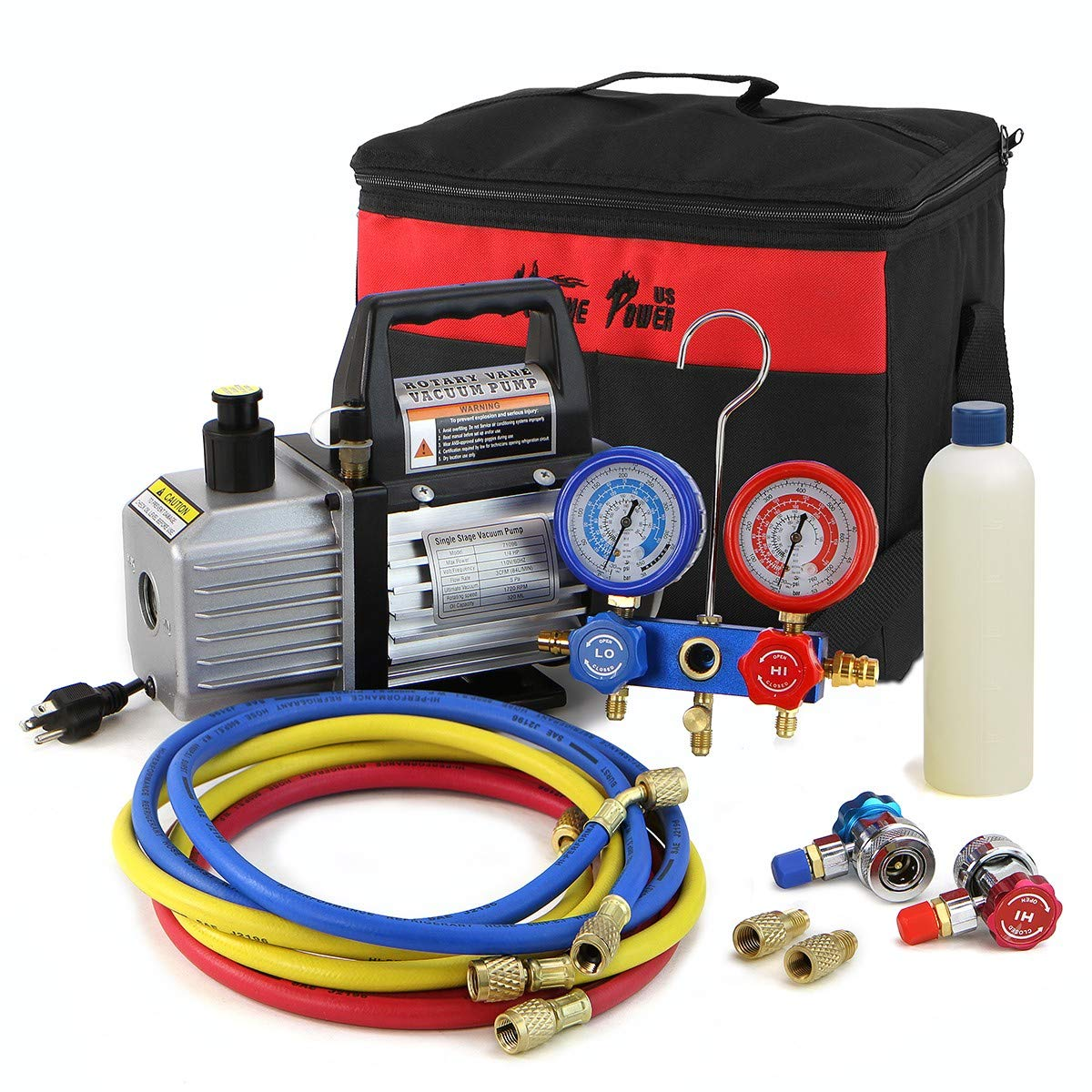 XtremepowerUS 3CFM 1/4HP Air Vacuum Pump HVAC R134a R12 R22 R410a A/C Refrigeration Kit AC Manifold Gauge Carrying Tote by XtremepowerUS (Image #1)