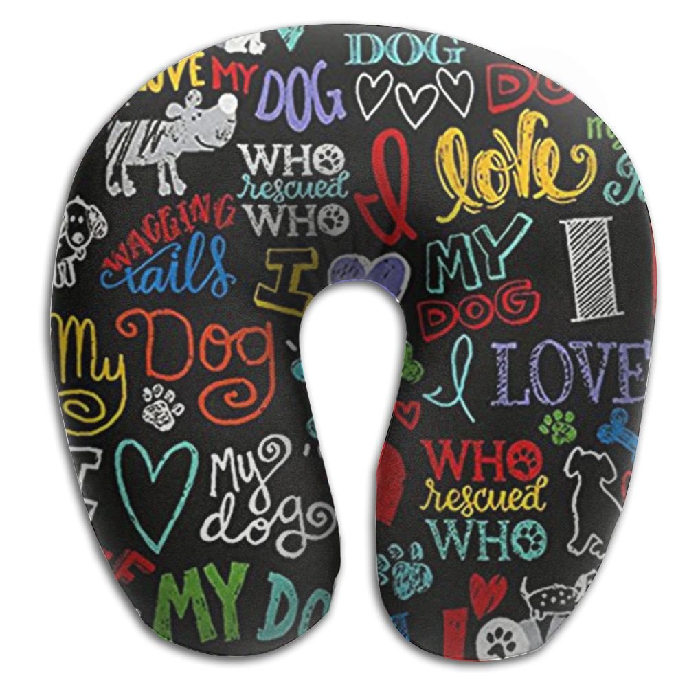 CRSJBB219 Animal Novelty I Love My Dog Comfortable Travel Pillow,Neck Pillow,a Memory Foam Pillow That Provides Relief and Support for Travel,Home, Neck Pain