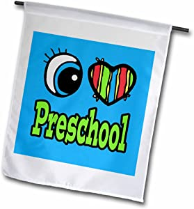 3dRose fl_106431_1 Bright Eye Heart I Love Preschool Garden Flag, 12 by 18-Inch