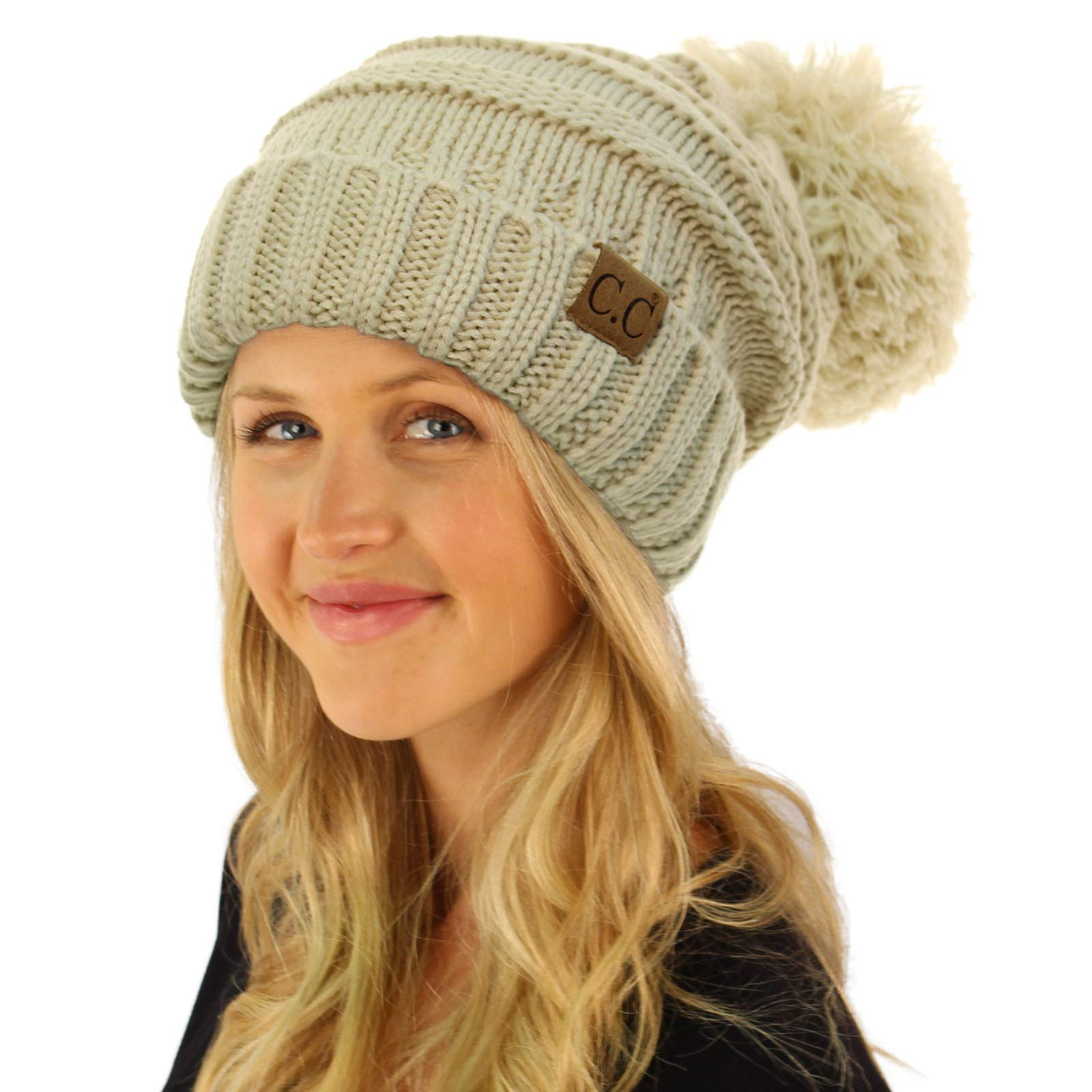037b9cc1bec Oversized Super Big Slouchy Pom Pom Warm Chunky Stretchy Knit Beanie Hat  Solid Beige   Skullies   Beanies   Clothing